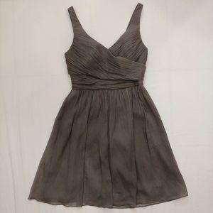 J. Crew Heidi Gray Silk Chiffon Dress